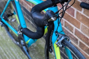Shimano Ultegra on blue road bike
