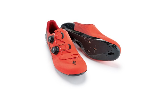 Red orange road cycling shoe