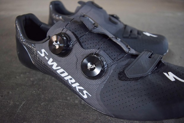 Specialized carbon-soled cycling shoe with BOA ratchet adjustments