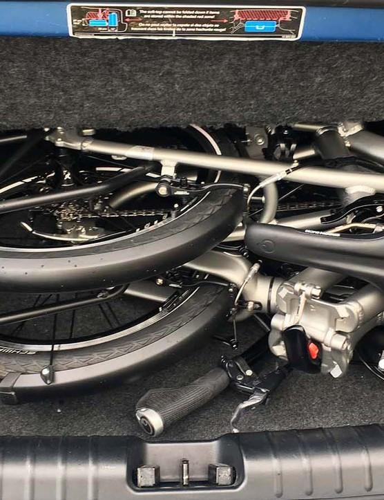 folding road bike in boot