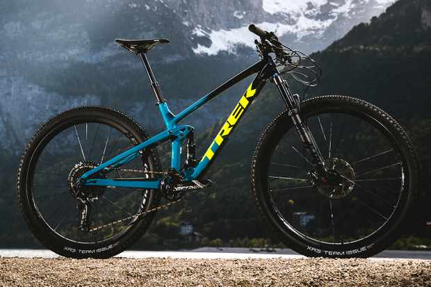Blue full suspension Trek Top Fuel mountain bike
