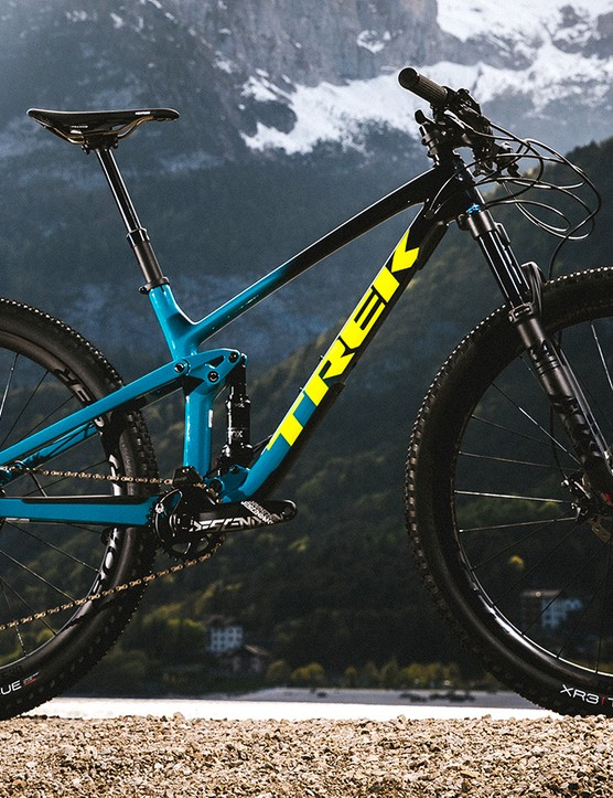 Blue full suspension Trek Top Fuel mountain bike