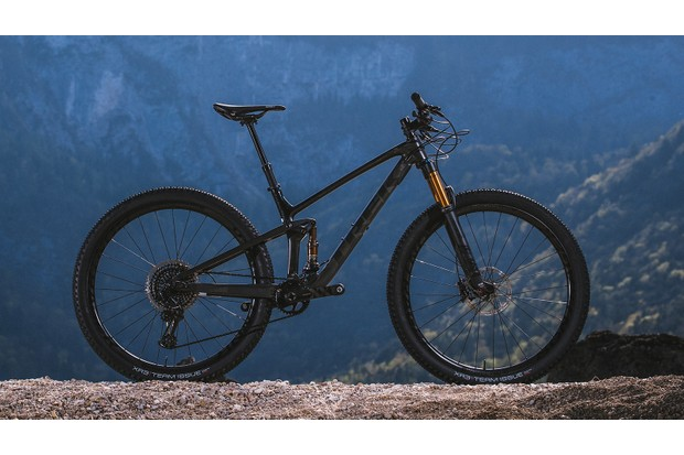 Black full suspension Trek Top Fuel mountain bike