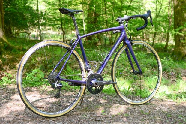 Purple aluminium road bike with SRAM RED eTap groupset