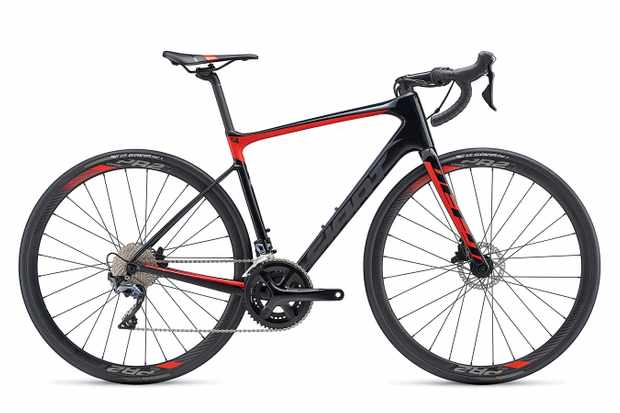 Three-quarter view red and black road bike