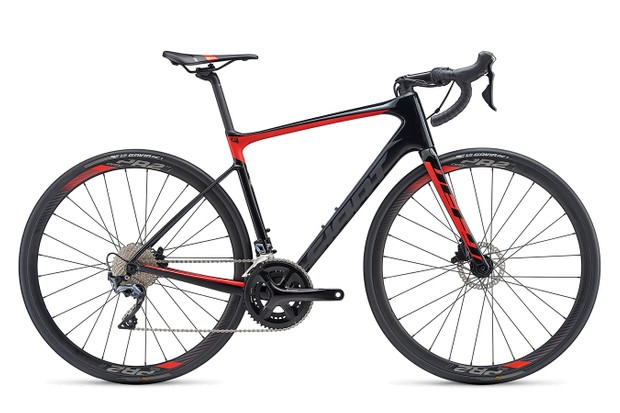 Three-quarter view red and black road bike
