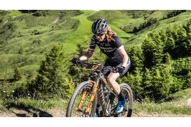 Marathon mountain bike racer Sally Bigham allocates time to deep breathing before a race