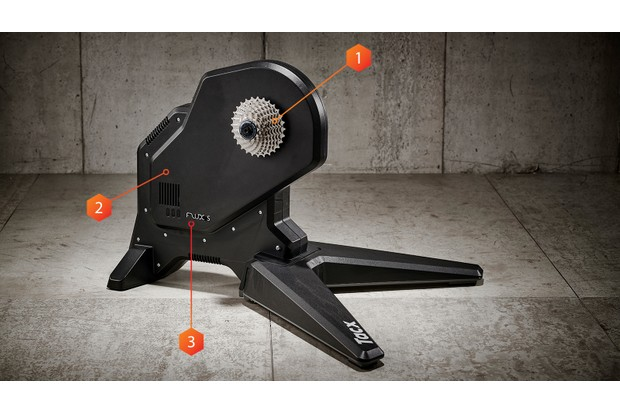 Tacx Flux S Smart indoor trainer with three arrows named: 1. Cassette, 2. Resistance, 3. Intelligent