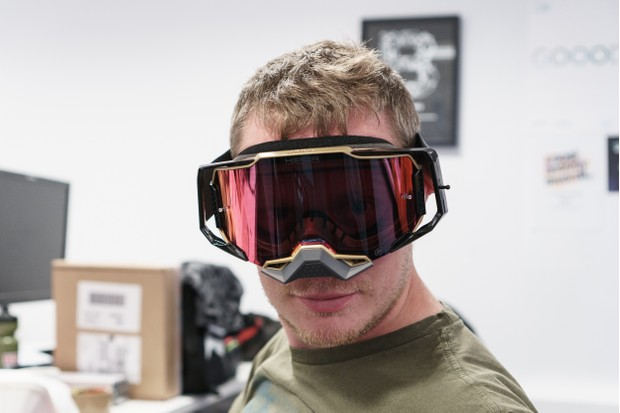 Handsome hunk, Tom Marvin, in lairy 100% Armega goggles