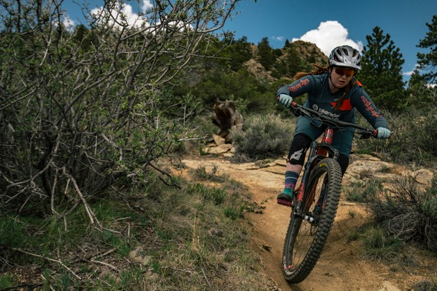Aoife Glass riding the Juliana Maverick women's mountain bike in Colorado