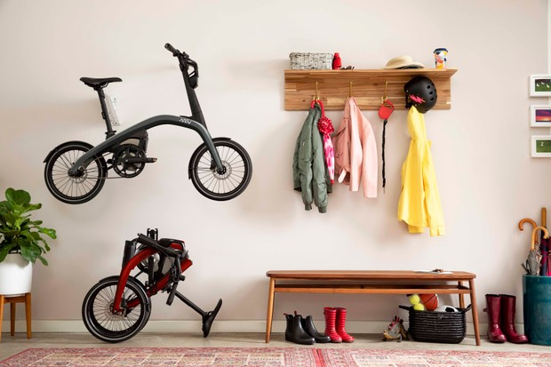 Ariv Merge electric folding bike folded and unfolded in home