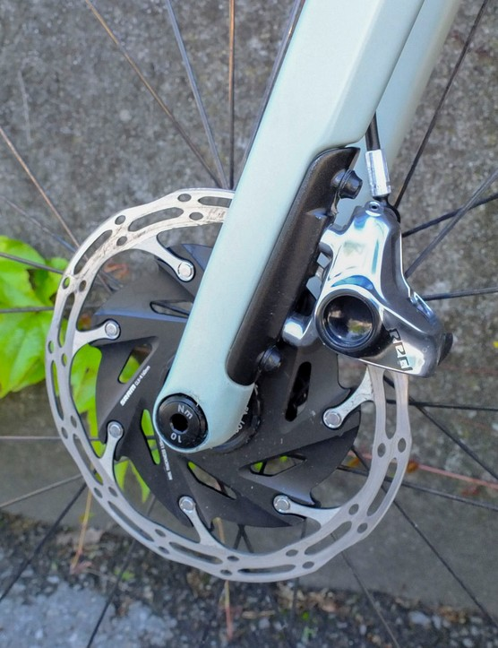 disc rotor and lower part of fork on road bike