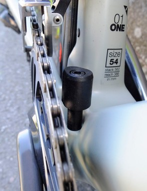 bottom bracket with integrated chain catcher on road bike