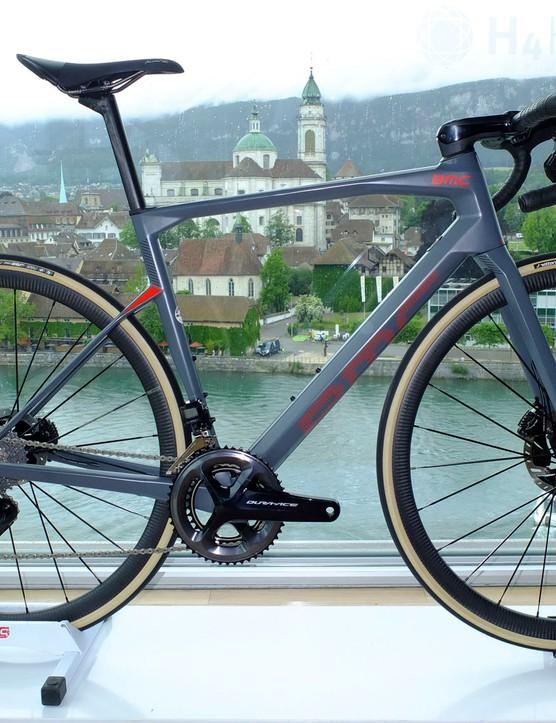 grey bmc road bike