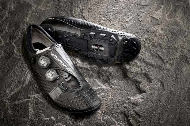 Road cycling shoe on slate