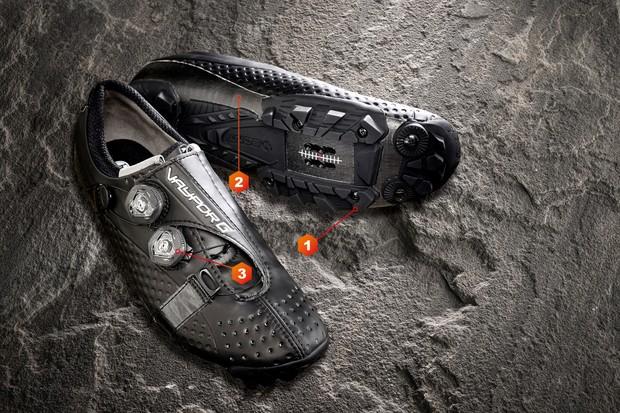 Road cycling shoe on slate