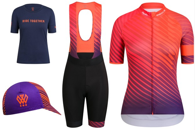 Photo collage of the 2019 Rapha Women's 100 cycling kit