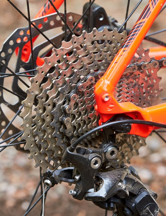 11-42 cassette on red orange hardtail mountain bike