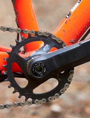 32 tooth chain ring on red orange hardtail mountain bike
