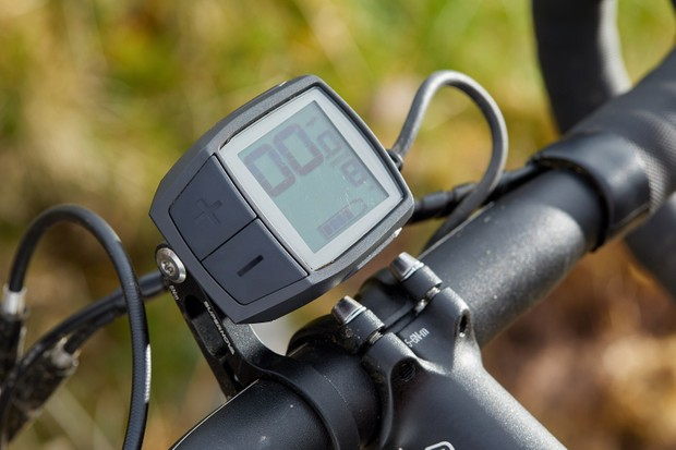 LCD Purion display on grey e-road bike