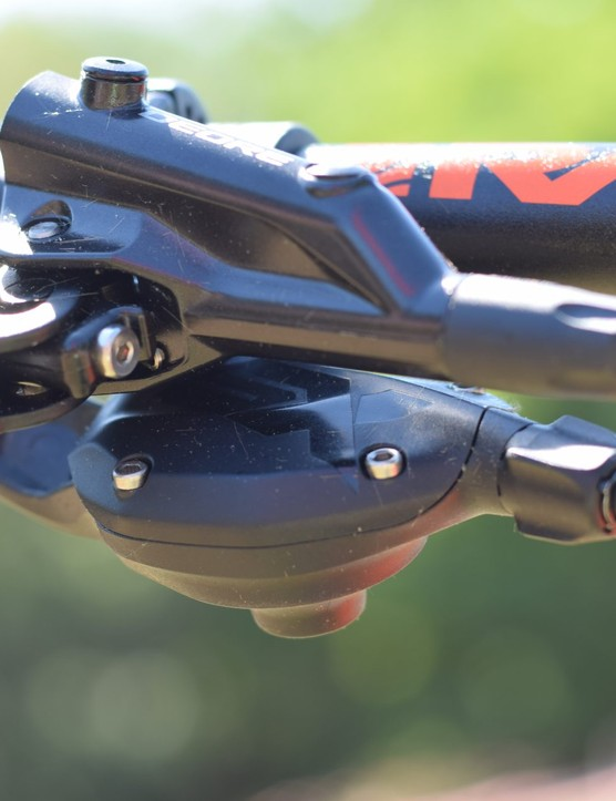 The SX Eagle shifter nestles below the Deore brake lever