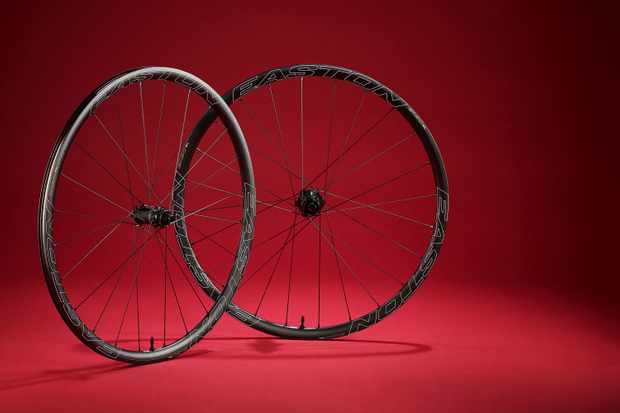 Road cycling wheelset on red background