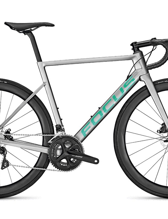 Grey road bike white background