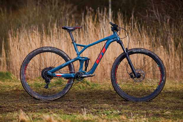 Blue full-suspension mountain bike