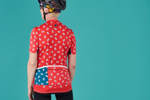 Back of the IRIS All Eyes On Me women's cycling jersey