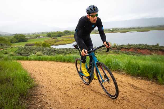 Rider on drop bar Pivot bike