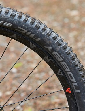 Schwalbe Nobby Nic Performance tyre on red and black Saracen Mantra LSL hardtail mountain bike