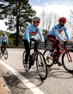 3 cyclists riding road bikes