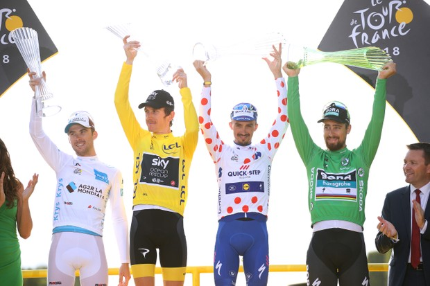 Tour de France 2018 podium winners Latour, Thomas, Alaphilippe and Sagan