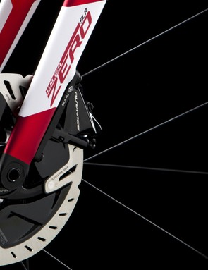 disc brake and fork on red road bike