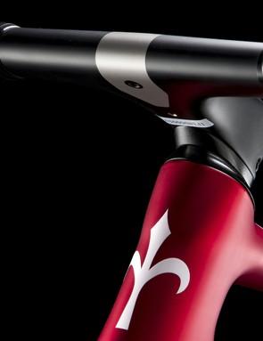 handlebar and stem on red road bike