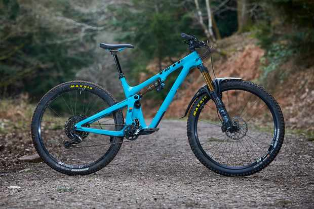 Blue full suspension mountain bike