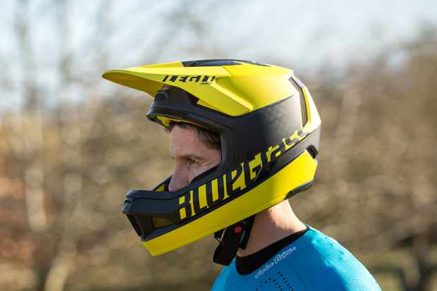 Yellow full face mountain bike helmet