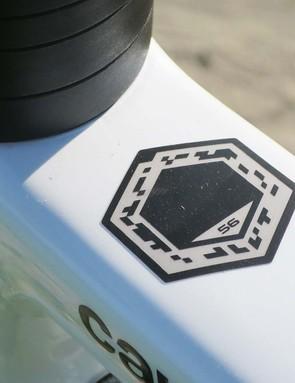 graphic on white road bike