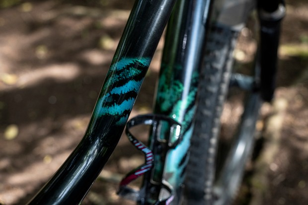 The distinctive patterning, inspired by the jungle, is a departure from the overly feminine decals on women's bikes in days of yore