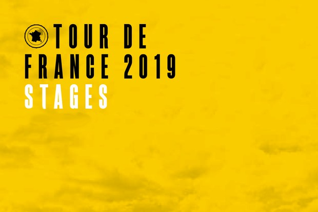 Tour de France 2019 stages written in black and white text on a yellow background