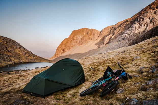 Campsite with bikes in Torridon, Scotland