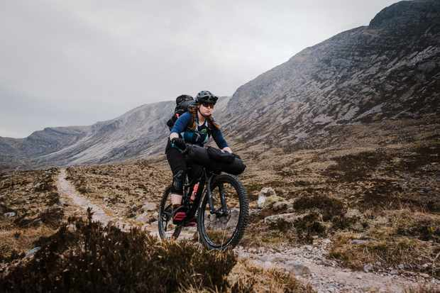 Aoife Glass riding the Liv Intrigue women's mountain bike in Torridon, Scotland