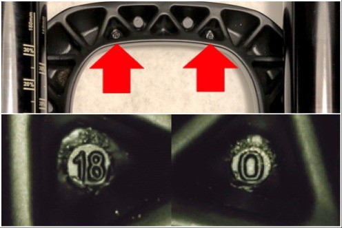 Photo showing two details of the fork arch, indicating the casting number