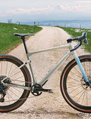 Grey and blue gravel road bike
