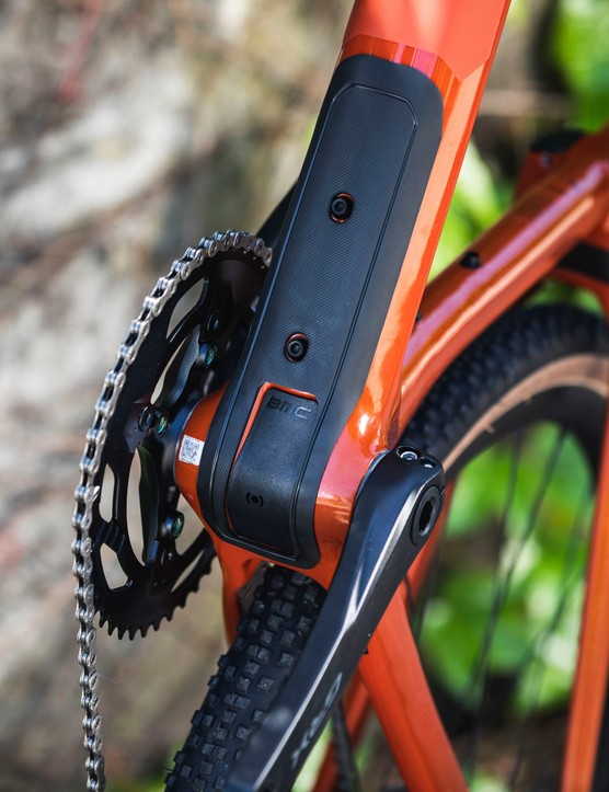 integrated lower down tube protector on gravel road bike