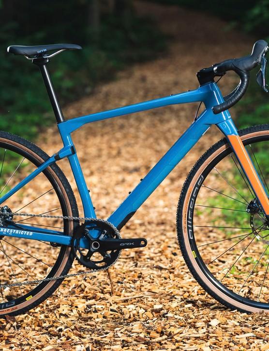 blue gravel road bike