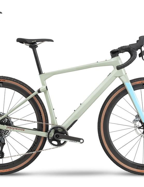 grey and blue gravel road bike white background