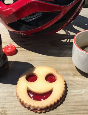 jammy dodger and cup of coffee