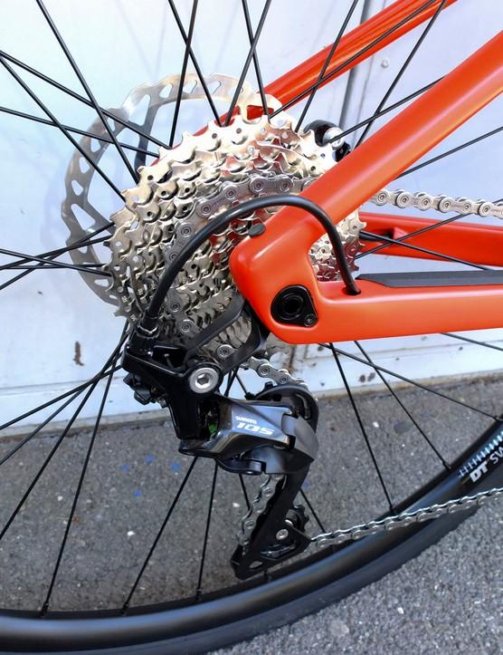 cassette and rear mech on road e-bike