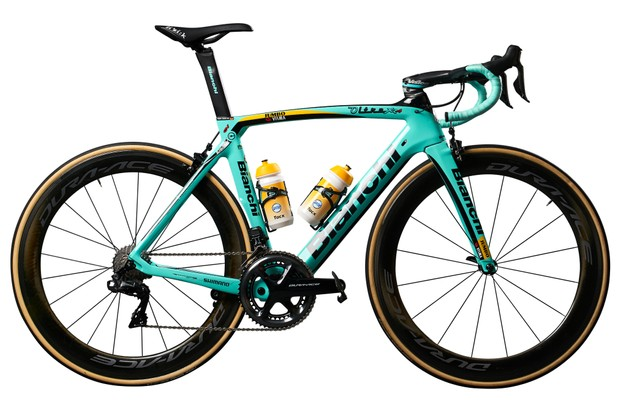 Jumbo Visma's Bianchis stick with the bike brand's signature celeste paint